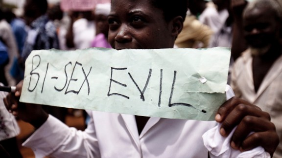 Photo taken on February 14, 2010 shows Ugandans taking part in an anti-gay demonstrationy at Jinja, Kampala.