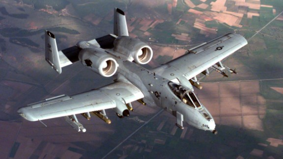 "The A-10 Thunderbolt jets, nicknamed ""Warthogs,"" are specially designed for close air support of ground forces. Key to their armaments is a 30mm Gatling gun. The pilot is protected from ground fire by titanium armor, and the plane"