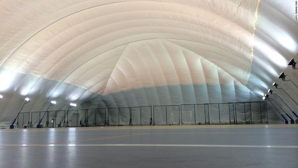 The school's dome has a pressurized, soft Teflon roof.
