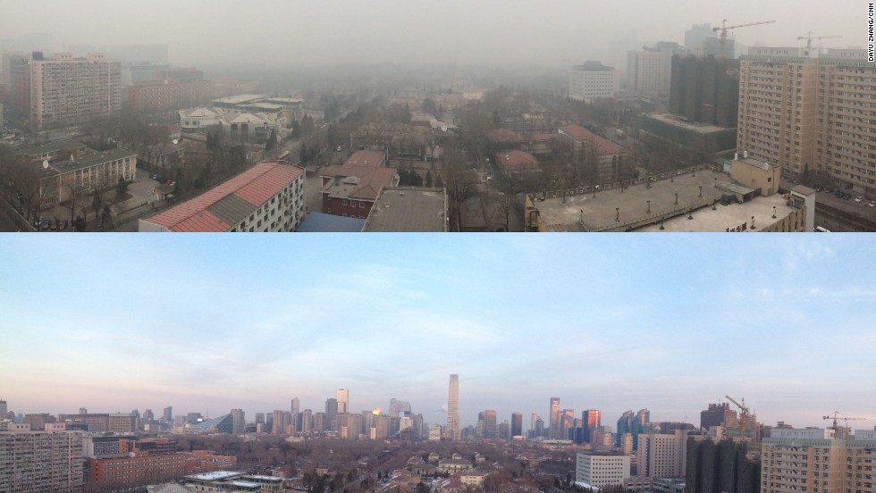 Bad day, good day: CNN's views of Beijing on smoggy and clear days.