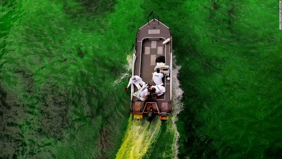 Every year since 1961, the downtown section of the Chicago River has been dyed green to celebrate St. Patrick's Day.