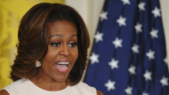 US First Lady Michelle Obama speaks during an announcement of proposed school wellness standards on February 25, 2014 in the East Room of the White House in Washington, DC. AFP PHOTO/Mandel NGAN (Photo credit should read MANDEL NGAN/AFP/Getty Images)