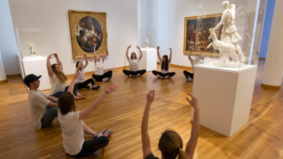 """Galloway teacher Sally Cramer leads a session called """"Art from Art"""" for older Galloway students. The goal was to guide students toward a relationship with a piece of art in the museum and urge them to create their own original words and movements."""