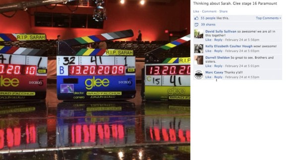 """Crew members from the TV show """"Glee"""" shared messages of """"RIP Sarah Jones."""""""