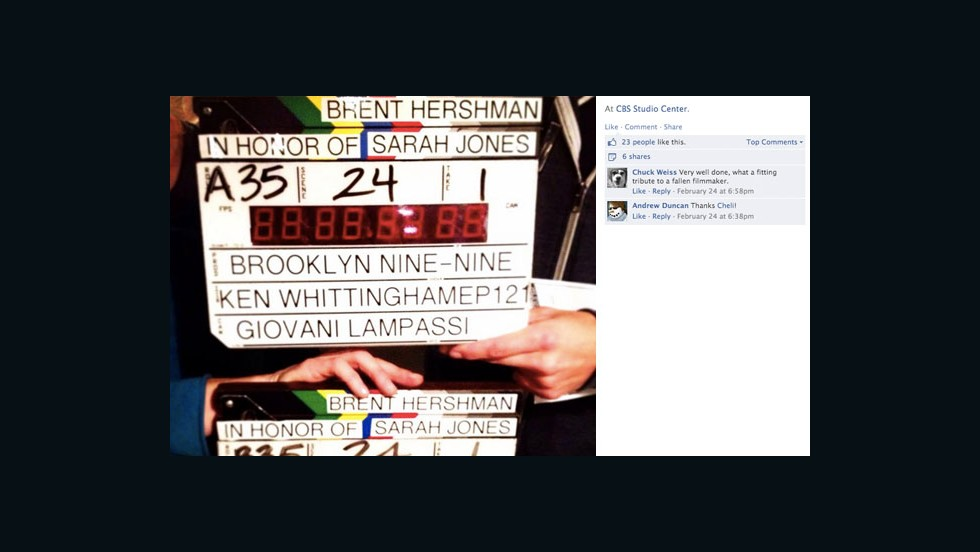 "Crew members from ""Brooklyn Nine-Nine"" paused to remember Jones, as well as <a href=""http://articles.latimes.com/1997-04-16/entertainment/ca-49080_1_time-limits"" target=""_blank"">Brent Hershman</a>. Hershman was a crew member who died in 1997 when he fell asleep at the wheel and crashed his car after a 19-hour day. His death sparked a conversation about working hours and workplace safety."