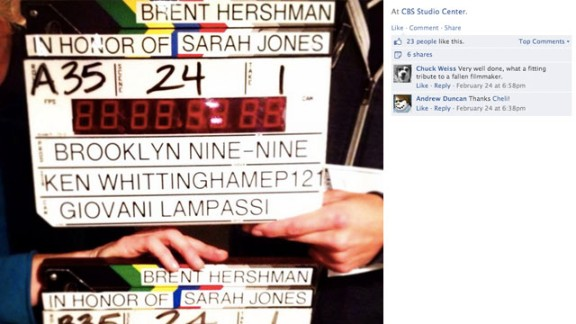 """Crew members from """"Brooklyn Nine-Nine"""" paused to remember Jones, as well as Brent Hershman. Hershman was a crew member who died in 1997 when he fell asleep at the wheel and crashed his car after a 19-hour day. His death sparked a conversation about working hours and workplace safety."""