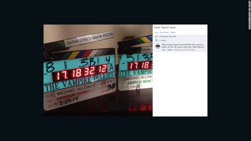"Jones worked on the set of ""The Vampire Diaries"" in Atlanta as a second camera assistant. Part of her job included marking the start of a take with a camera slate. Her co-workers shared this tribute in remembrance of her."