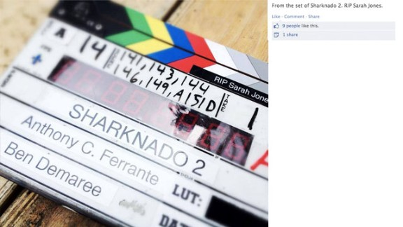 """Even the crew on the set of """"Sharknado 2"""" shared their message of remembrance."""