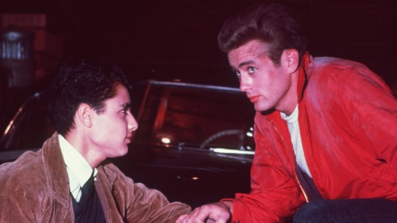 """""""Rebel Without a Cause"""" (1955): Sal Mineo, left, and James Dean appear in a scene from the film about a rebellious youth who moves to a new area and breaks the rules. The movie was released after Dean's death in a car crash."""