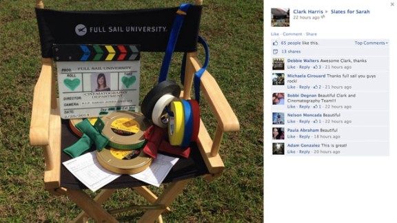 The cinematography department at Full Sail University shared this tribute for Jones. The colorful tape is standard issue on film sets.