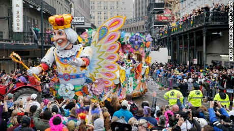 Mardi Gras Day, the traditional celebration on the day before Ash Wednesday and the begining of Lent, is marked in New Orleans with parades and marches through the city.