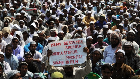 Indian Muslims gather for a protest against the controversial film