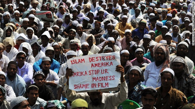 Indian Muslims gather for a protest against the controversial film 'Innocence of Muslims' in Kolkata on September 27, 2012.