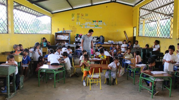 The teacher at this school in the village of Sani Isla says he believes oil exploration is to blame for what he says is an unusually high rate of children with special needs, mental and physical disorders.