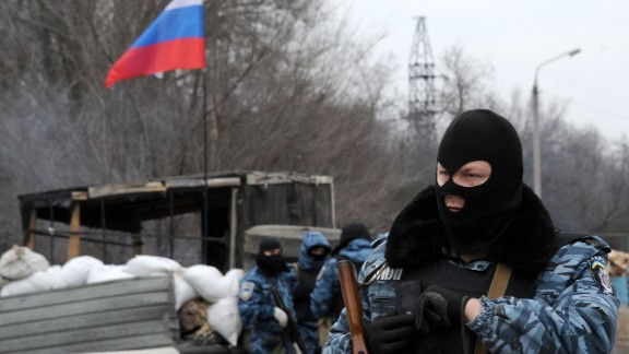 Armed masked men who call themselves members of Ukraine