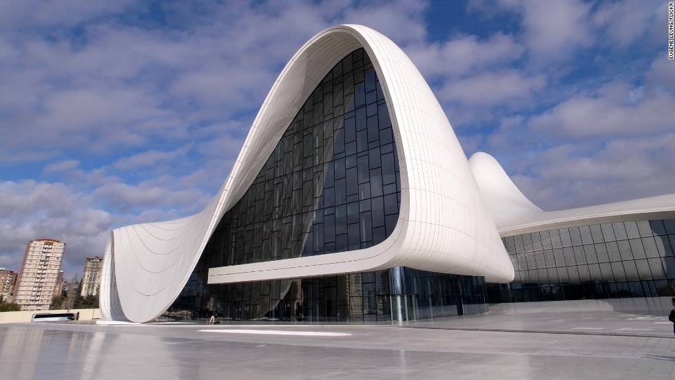 Money isn't just being invested in sport. The Heydar Aliyev Center's fluid forms are a contrast to the rigid and monumental architecture one normally finds in Baku. President Ilham Aliyev, who officially opened the building on May 10, 2012, named the building after his late father, Heydar Aliyev, who was also a president of Azerbaijan. Architect: Zaha Hadid Architects