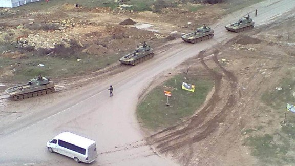 An image provided to CNN by a local resident shows Russian tanks on the move in Sevastopol.