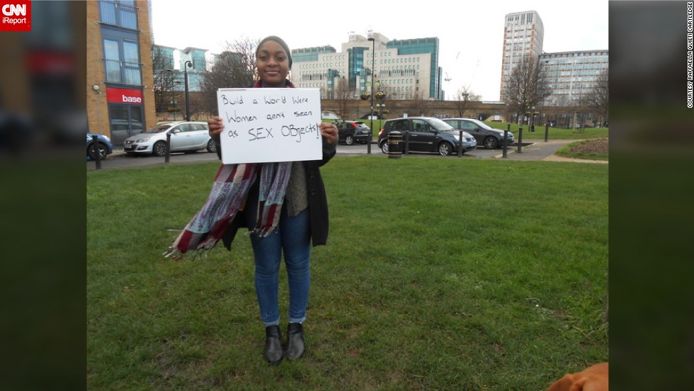 "iReporter <a href=""http://ireport.cnn.com/docs/DOC-1095690"">Raffaella Quieti Cartledge </a>wanted to hear what people on the streets of London really want for women in the future. While taking a stroll in London, Cartledge started chatting with a student named Honey (pictured with her message)."