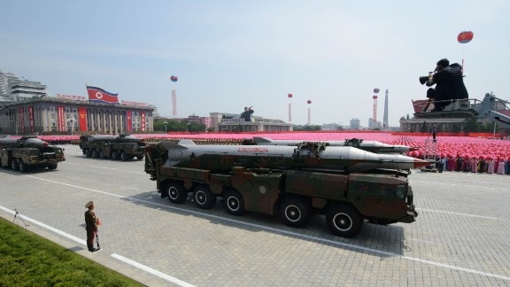 An unidentified North Korean missile is displayed during a military parade past Kim Il-Sung square on July 27, 2013.
