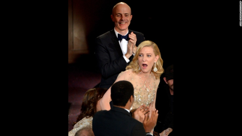 "Cate Blanchett reacts after winning best actress for her role in ""Blue Jasmine."""