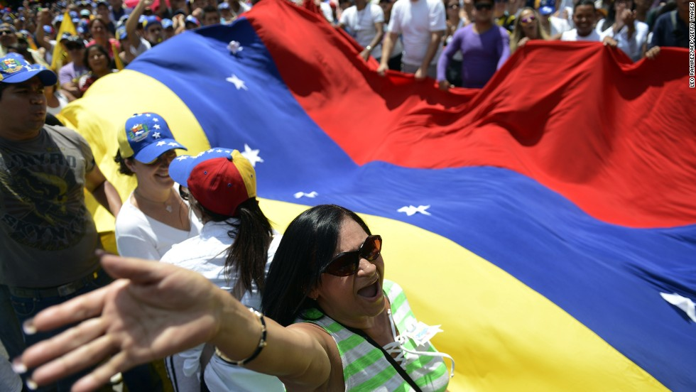 Activists in Caracas march in protest against the government on March 2.