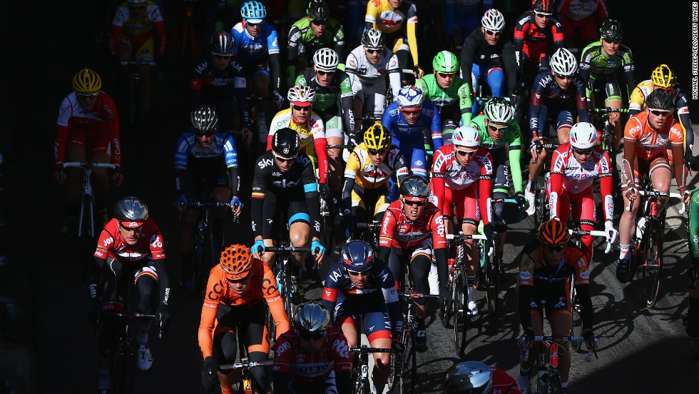 Cyclists compete during the Kuurne-Brussels-Kuurne race Sunday, March 2, in Kuurne, Belgium.