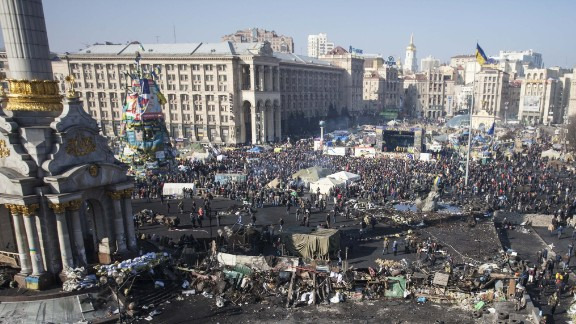"""Independence Square after a week of protests.""""This sunny day felt like <a href=""""http://ireport.cnn.com/docs/DOC-1093168"""">spring cleaning</a>, like taking care of our home together!"""" Mikhaluk said."""