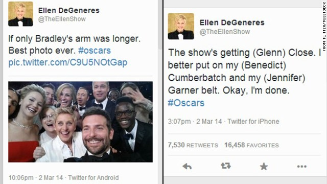 Although Samsung was an Oscars sponsor, host Ellen DeGeneres was tweeting backstage from an iPhone, as seen at right.