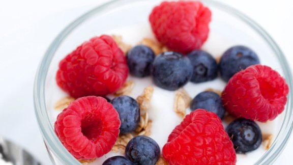 Rethink the way you use grains and starches. Take a breakfast parfait: Instead of starting with a granola base, fill your cup with yogurt and then sprinkle just a tiny amount of granola on top for crunch. Making a stir-fry? Load up your plate with veggies and a serving of lean protein, and then add a quarter-cup of brown rice.   Health.com: Best superfoods for weight loss