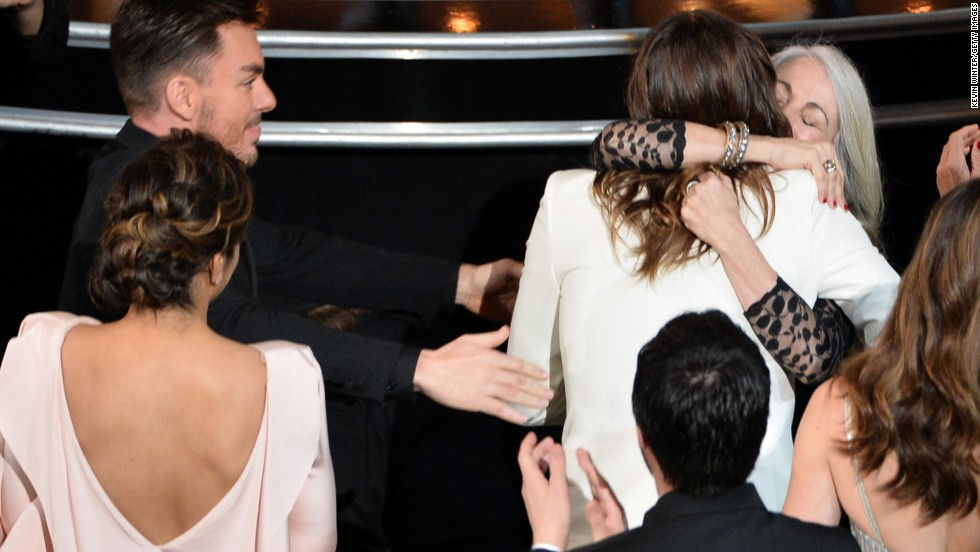 Jared Leto hugs his mother Constance as they attend the Oscars on March 2, 2014, in Hollywood, California.