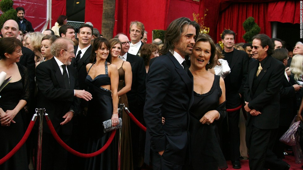 Colin Farrell and his mom Rita arrive at the 80th Annual Academy Awards held on February 24, 2008, in Hollywood, California.