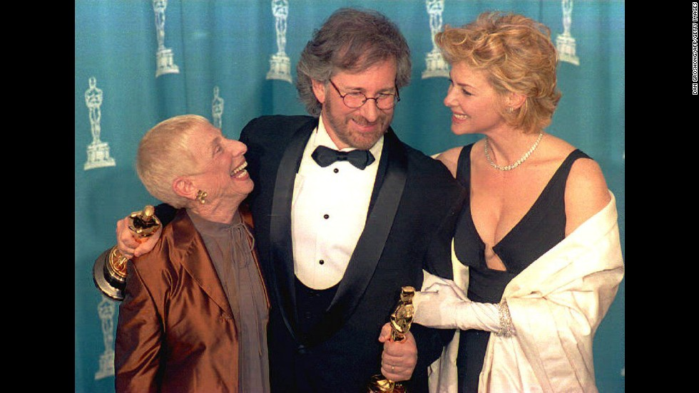 "Steven Spielberg poses with his wife actress Kate Capshaw, right, and his mother Leah Adler at the 66th Annual Academy Awards ceremony after winning the 1993 Oscars for Best Director and Best Picture for his movie ""Schindler's List."""