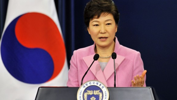South Korean President Park Geun-Hye speaks during her New Year press conference at the presidential Blue House in Seoul on January 6, 2014. Park proposed fresh reunions of families separated by the Korean War, promising increased humanitarian aid to the impoverished North. AFP PHOTO / POOL / JUNG YEON-JE (Photo credit should read JUNG YEON-JE/AFP/Getty Images)
