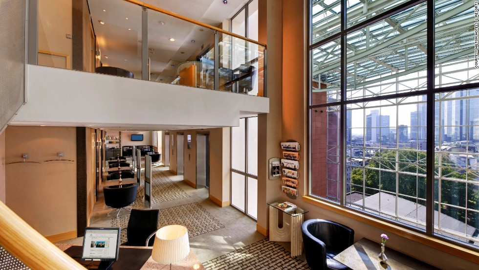 Travelers love their Hilton HHonors executive lounge access, naming it the best hotel benefit in Europe and Africa. Shown here is the Hilton Frankfurt Hotel executive lounge.