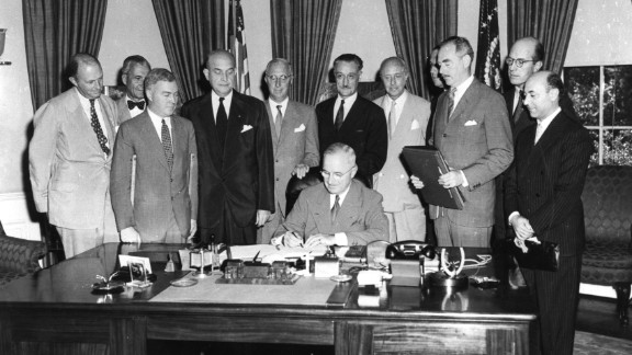 In August 1949, President Truman signed the North Atlantic Treaty, which marked the beginning of NATO. Two years earlier, he requested $400 million in aid from Congress to combat communism in Greece and Turkey. The Truman Doctrine pledged to provide American economic and military assistance to any nation threatened by communism.