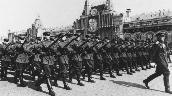 In 1955, the Warsaw Pact was organized, creating a military alliance of communist nations in Eastern Europe that included Bulgaria, Czechoslovakia, East Germany, Hungary, Poland, Romania and the Soviet Union. Here, the Soviet Army marches during May Day celebrations in 1954.