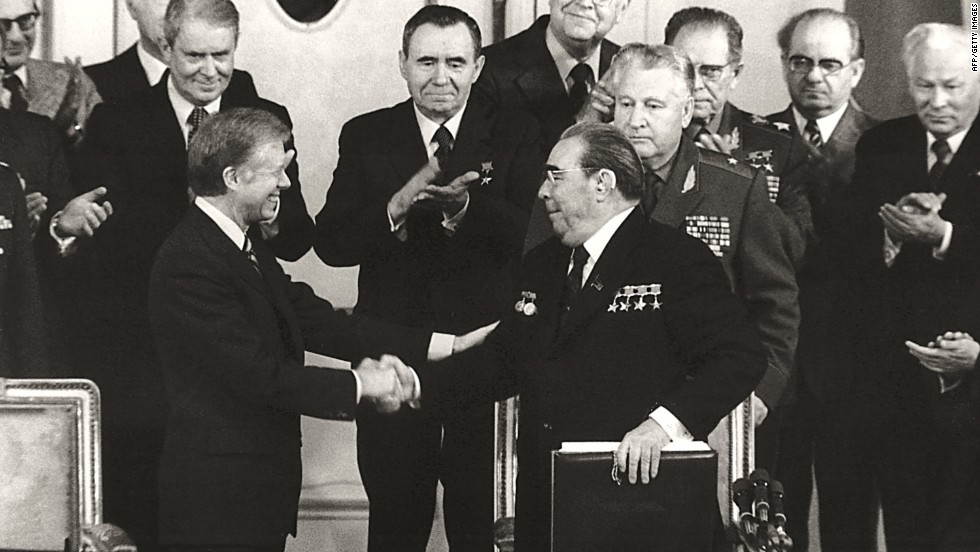 U.S. President Jimmy Carter and Soviet leader Leonid Brezhnev shake hands after signing the SALT II treaty limiting strategic arms in Vienna, Austria, on June 18, 1979. The first phase of Strategic Arms Limitation Talks began in Helsinki, Finland, with a finished agreement signed by President Nixon and Brezhnev in Moscow on May 26, 1972. It placed limits on both submarine-launched and intercontinental nuclear missiles.