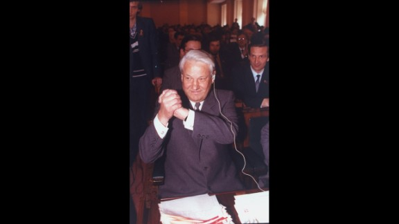 While vacationing in the Crimean peninsula, Gorbachev was ousted in a coup by Communist hard-liners on August 19, 1991. The coup soon faltered as citizens took to the streets of Moscow and other cities in support of Russian President Boris Yeltsin (pictured), who denounced the coup. Military units abandoned the hard-liners, and Gorbachev was released from house arrest. He officially resigned on December 25 as the Soviet Union was dissolved.