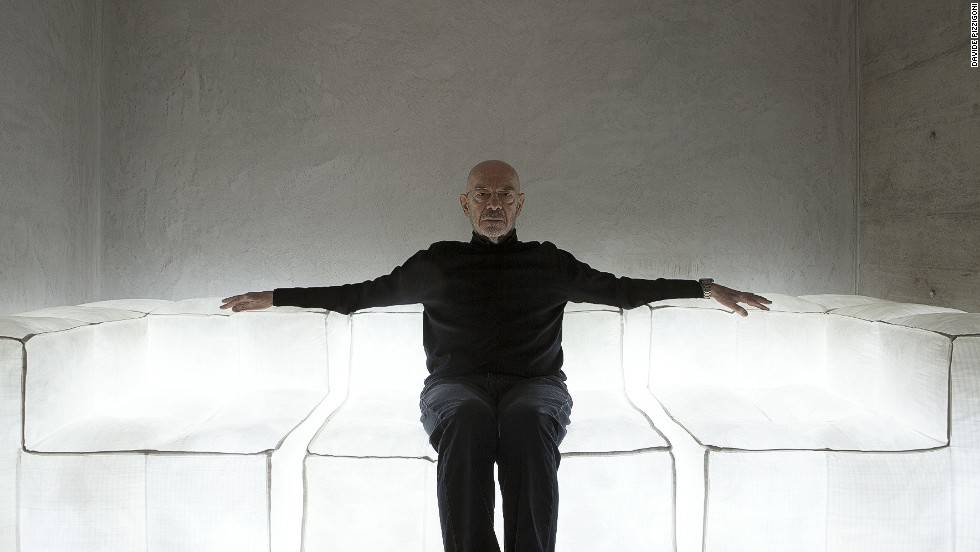 "<em>Mario Bellini, Milan</em><br /><br />But it's not all Old World style, as evidenced by this dramatic glowing sofa. ""He is about to embark on a design for a white cube, his new home,"" Molteni says. ""That is his dream."""
