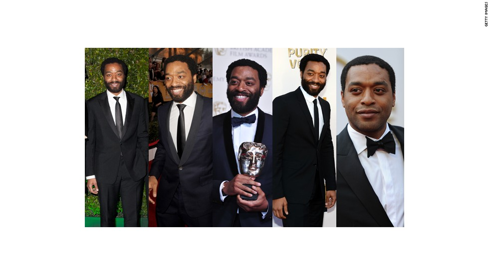 From left, Chiwetel Ejiofor wears Rake at the Golden Globes, Rake at the Screen Actors Guild Awards, Mr. Start at the BAFTAs, Burberry at the Critics Choice Awards and Rake at the Oscars.