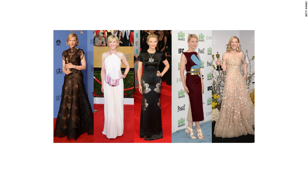 From left, Cate Blanchett wears Armani Couture at the Golden Globes, Givenchy at the Screen Actors Guild Awards, Alexander McQueen at the BAFTAs, Roksanda Ilincic at the Spirit Awards and Armani Prive at the Oscars.