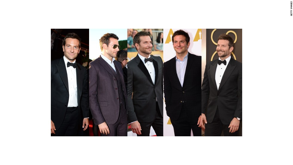 From left, Bradley Cooper wears Tom Ford at the Golden Globes, Bottega Veneta at the Critics Choice Awards, Gucci at the Screen Actors Guild Awards, Ralph Lauren at the Oscar nominees luncheon and Tom Ford at the Oscars.
