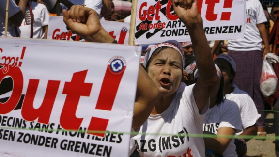 Rakhine protesters shout slogans against Medecins Sans Frontieres during a protest in the state capital, Sittwe, in February.