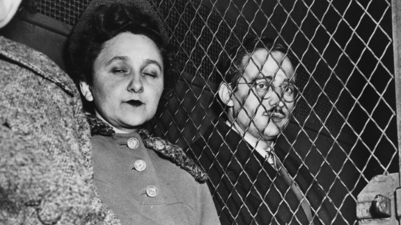 Julius and Ethel Rosenberg (nee Ethel Greenglass) in a Marshal's van en route to the Federal House of Detention, after they had been found guilty of nuclear espionage. They were subsequently executed.  (Photo by Keystone/Getty Images)
