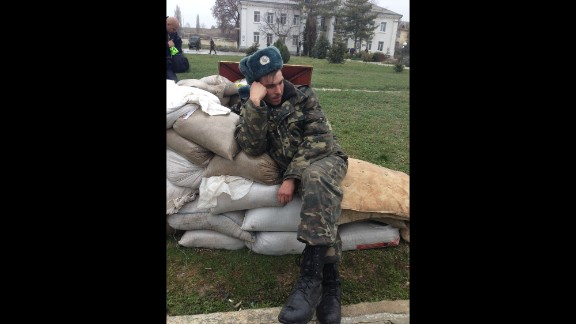 "SEVASTOPOL, UKRAINE:  ""A weary Ukrainian soldier after a five-day standoff at the Belbak air base outside Sevastopol, Crimea, on March 5."" - CNN's Ben Wedeman.  Follow Ben on Instagram at instagram.com/bcwedeman."