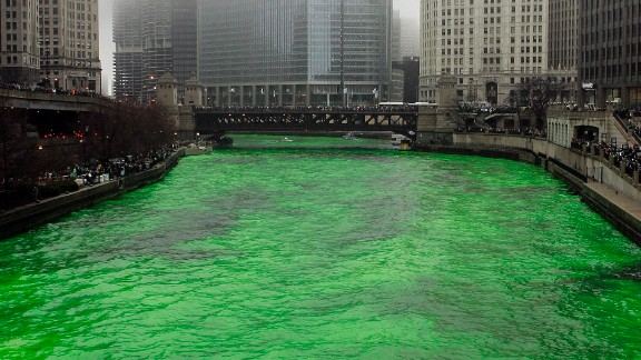 The Chicago River is dyed green for the annual St. Patrick's Day celebration.