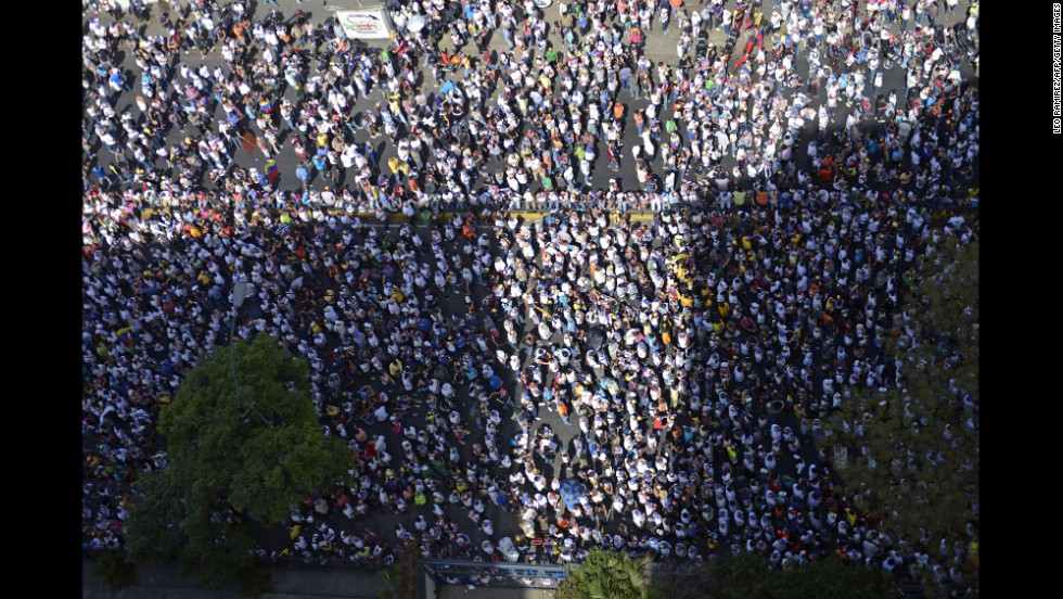 Anti-government demonstrators gather during a protest in Caracas on March 4.