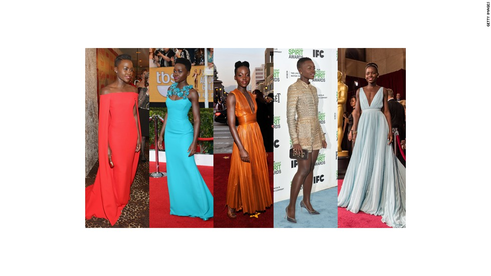 From left, Lupita Nyong'o wears Ralph Lauren at the Golden Globes, Gucci at the Screen Actors Guild Awards, Givenchy at the NAACP Image Awards, Stella McCartney at the Spirit Awards and custom Prada at the Oscars.