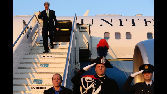 Kerry touches down in Rome during a hectic nine-day trip in February 2013. Kerry accompanied President Barack Obama to Europe, Israel, Jordan and several Palestinian territories.