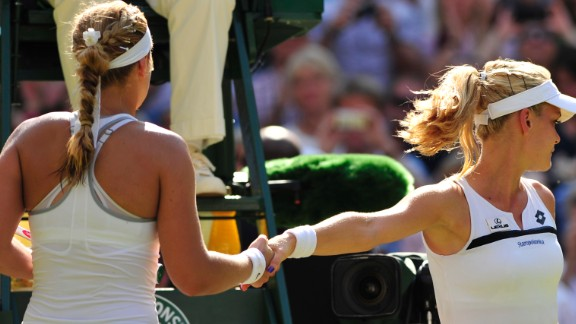 Sabine Lisicki, left, beat Agnieszka Radwanska last year to reach the Wimbledon final. But there was almost as much discussion about the handshake as the match itself. It's not the only contentious handshake in tennis history ...